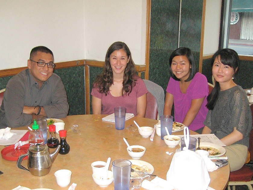 At a dinner meeting at Sam Woo's BBQ in Chinatown, August 19, 2010: left to right: Rob Labuni, MANAA VP Lori Lopez, Emma Quan, and Jane Fu.